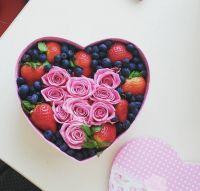 Коробка-сердце ягодно-розовый микс