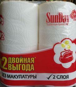 SunDay белая 2сл 4hул целюл туалетная бумага