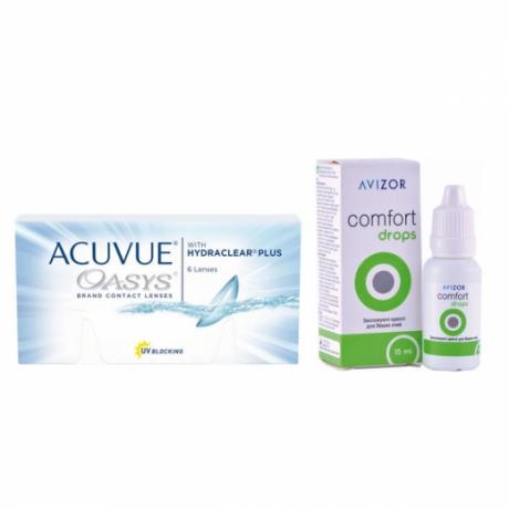 Acuvue Oasys 6 pk + Avizor comfort drops