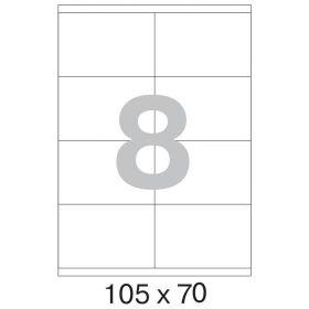73621 / 641802 Этикетки самоклеящиеся Mega label белые 105х70 мм (8 штук на листе А4, 100 листов в упаковке)