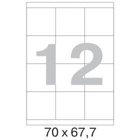 73624 / 641804 Этикетки самоклеящиеся MEGA LABEL 70х67.7 мм / 12 шт. на листе А 4 (100 листов в пачке)
