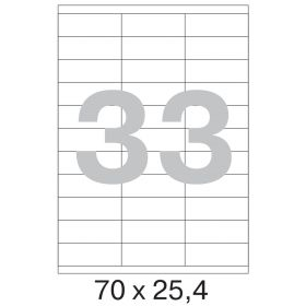 73639 / 641819 Этикетки самоклеящиеся Mega label белые 70х25.4 мм (33 штуки на листе А4, 100 листов в упаковке)