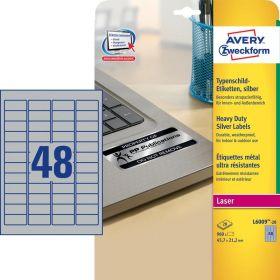 108492 Этикетки самоклеящиеся Avery Zweckform из серебристой пленки 45.7х21.2 мм (48 штук на листе, 20 листов, артикул производителя L6009-20)