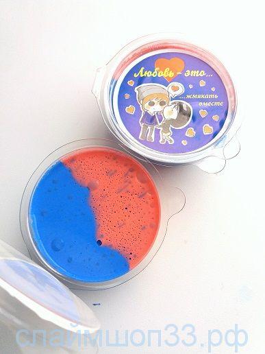 Флаффи слайм: красно-голубой 50 мл