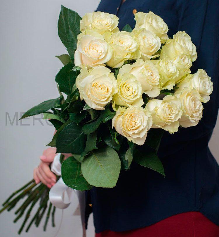 Букет из роз 15 шт, Эквадор (белые)