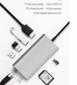 Адаптер Llano 7 в 1 (USB-C +3USB +Ethernet +HDMI +Card Reader +PD)
