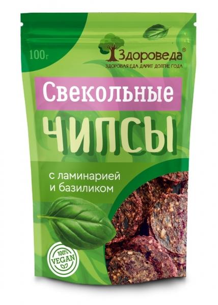 Чипсы свекольные с ламинарией и базиликом Здороведа - 100 гр