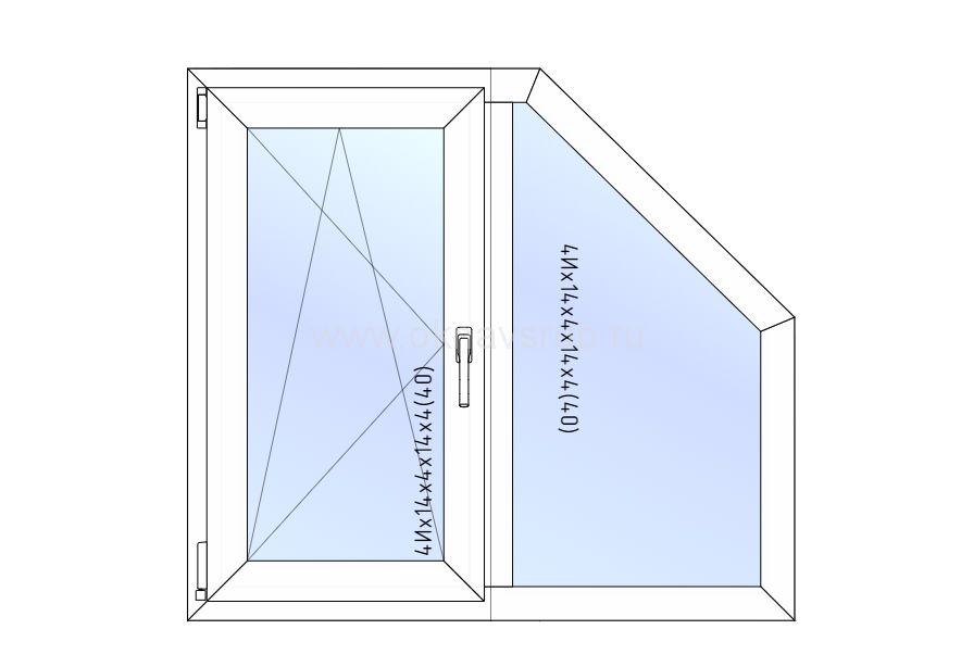 Окно REHAU 1200х1200 Трапеция /Поворотное