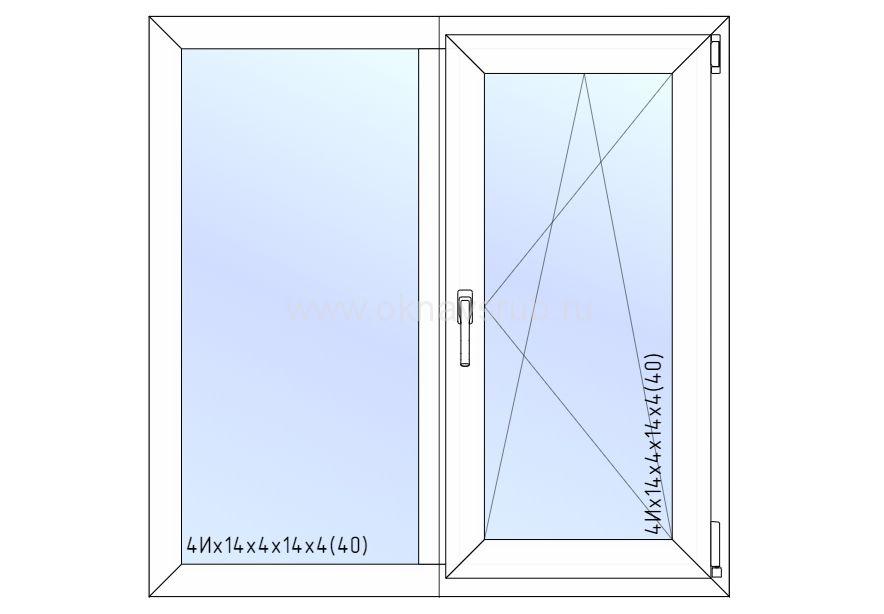Окно REHAU 1200х1200 поворотно-откидная створка