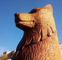 Деревянный волк покрты тунговым маслом с твёрдым воском
