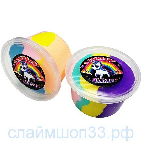 Флаффи Fluffy слайм большой радужный 4 цвета