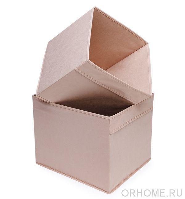 Коробка бежевая с ручками для хранения игрушек, белья, мелочей