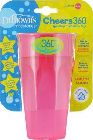 Dr.Brown's Чашка-непроливайка 300 мл Cheers 360°, розовая (Арт. ТС01039)