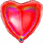 """Сердце, красный, голография, 18""""/ 46 см, Grabo"""