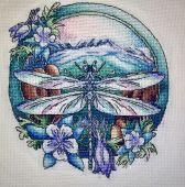 """Схема для вышивки крестом """"Стрекоза"""". Отшив."""