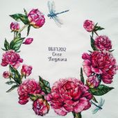 "Cross stitch pattern ""Peonies""."