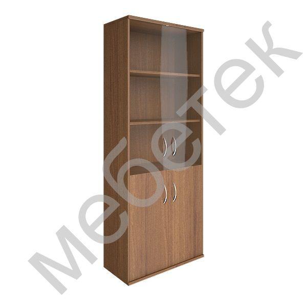 Шкаф высокий широкий (2 низкие двери ЛДСП, 2 средние двери стекло)