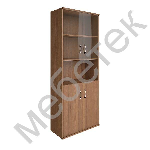 Шкаф высокий широкий (2 низкие двери ЛДСП, 2 низкие двери стекло)