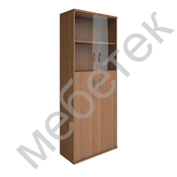 Шкаф высокий широкий (2 средние двери ЛДСП, 2 низкие двери стекло)