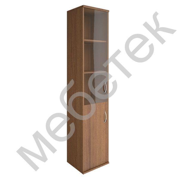 Шкаф высокий узкий левый (1 низкая дверь ЛДСП, 1 средняя дверь стекло)