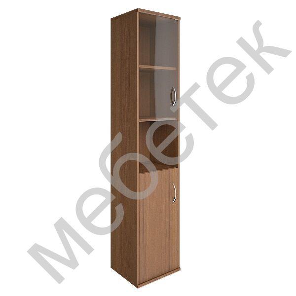 Шкаф высокий узкий левый (1 низкая дверь ЛДСП, 1 низкая дверь стекло)
