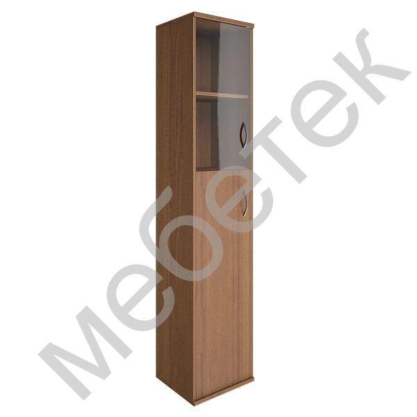 Шкаф высокий узкий левый (1 средняя дверь ЛДСП, 1 низкая дверь стекло)