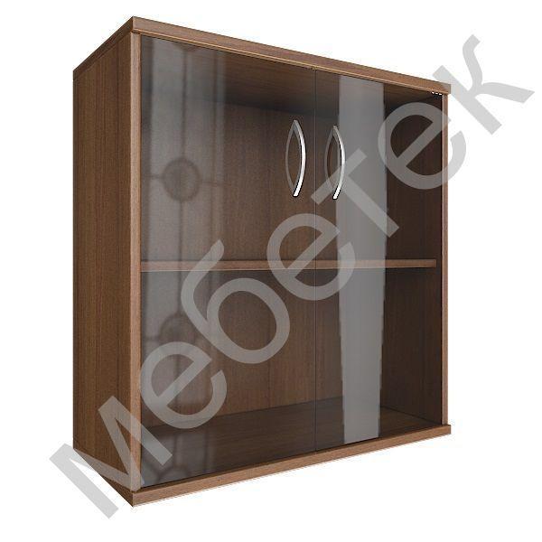 Шкаф низкий широкий (2 низкие двери стекло)