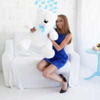 Мишка Кузя ОР-100см Длина-80см Белый