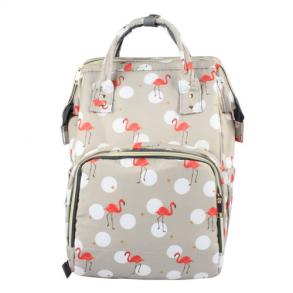 Сумка-рюкзак для мамы Mummy Bag Фламинго (серая)