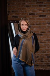 """тонкорунный широкий  шарф 100% шерсть мериноса,  расцветка """"Верблюжий Страйп """" CAMEL SPORTS STRIPE MERINO ,  плотность 3"""