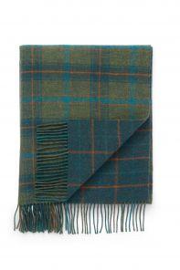 """плед шотландский двусторонний, 100 % стопроцентная шотландская овечья шерсть, расцветка """"Морская волна"""" , плотность 10. TEAL BRIGHT & DARK CHECK   LAMBSWOOL THROW"""