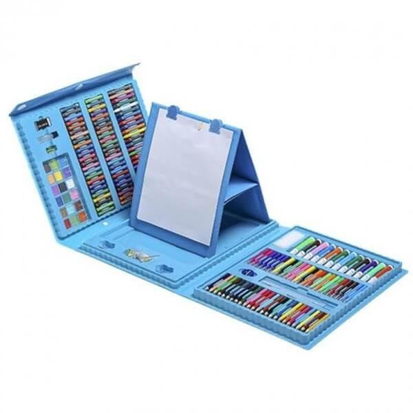 Набор для рисования со складным мольбертом в чемоданчике (176 предметов). Цвет: Голубой