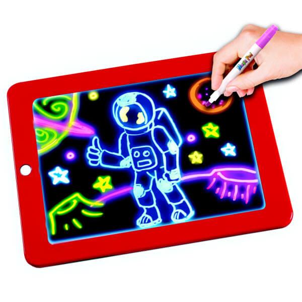 Волшебный планшет для рисования с подсветкой Magic Sketchpad (Цвет: Красный)