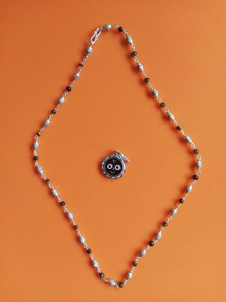 Кантхимала Туласи в серебре с Тигровым глазом, 47 см, 7 г, диаметр - 4 мм, производитель Ганготри(Вриндаван,Индия)