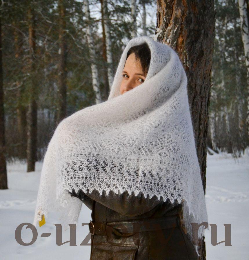 Пуховый оренбургский платок белая пуховая шаль