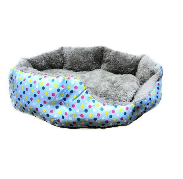 Круглый меховой лежак для кошек и собак Горошек 35 см, Голубой
