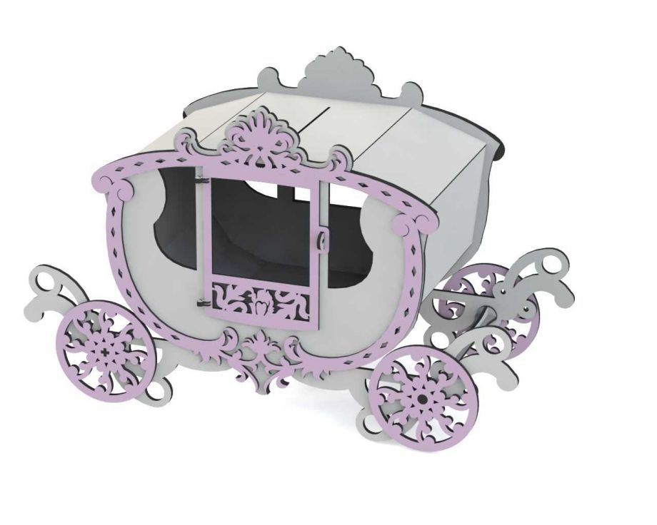 Шкатулка карета на свадьбу ажурная