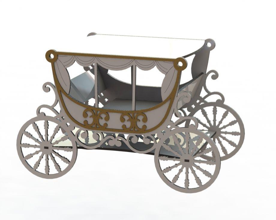 Шкатулка карета на свадьбу классическая