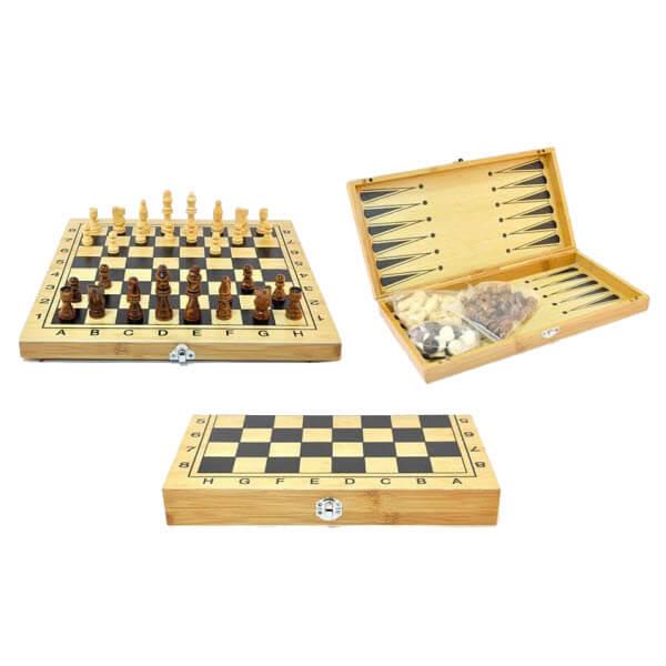 Настольная игра 3 в 1 Шахматы, Шашки, Нарды. Деревянные