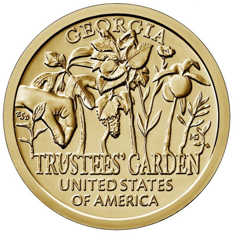 """1 доллар 2019г. Американские инновации """"Попечительские сады (Trustees' Garden)"""" №5"""