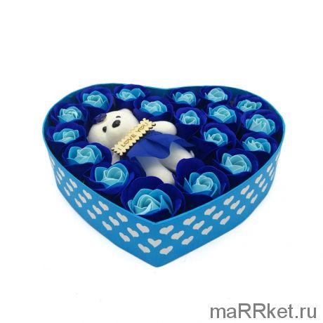 Подарочный набор мыльные розы  с мишкой, 18 шт (голубой)