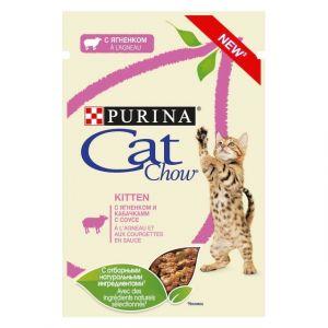 "Purina Cat Chow паучи для котят ""Кусочки в соусе с ягненком и кабачком"" 85гр"