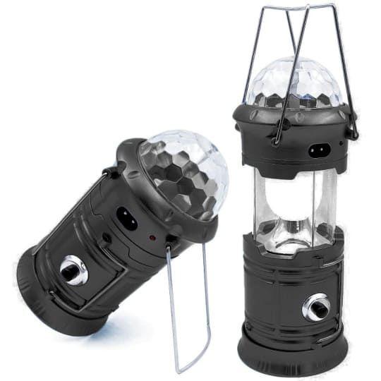 Кемпинговый складной фонарь с диско-шаром 4 в 1 (без солнечной панели), 17 см, черный