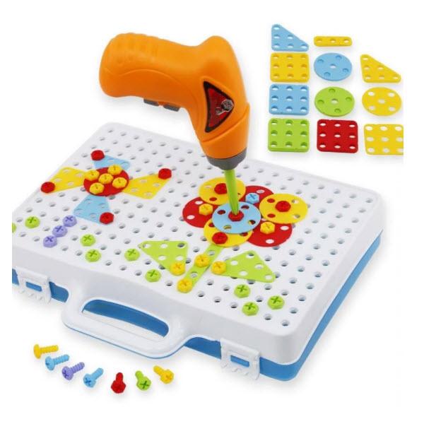 Конструктор-мозаика с шуруповертом Creative Portable Box. 198 деталей