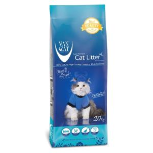 """Наполнитель Van Cat Classic Natural """"100% натуральный""""  комкующийся без пыли для кошек, пакет 20кг"""
