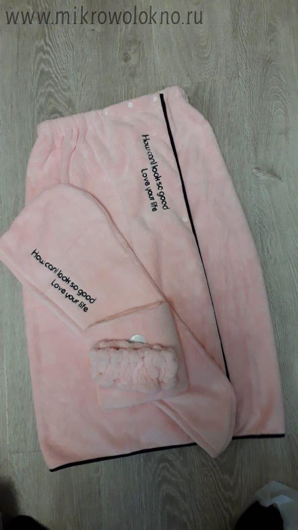 Набор женский из 4х предметов: парео, тюрбан, полотенце для рук, повязка на голову