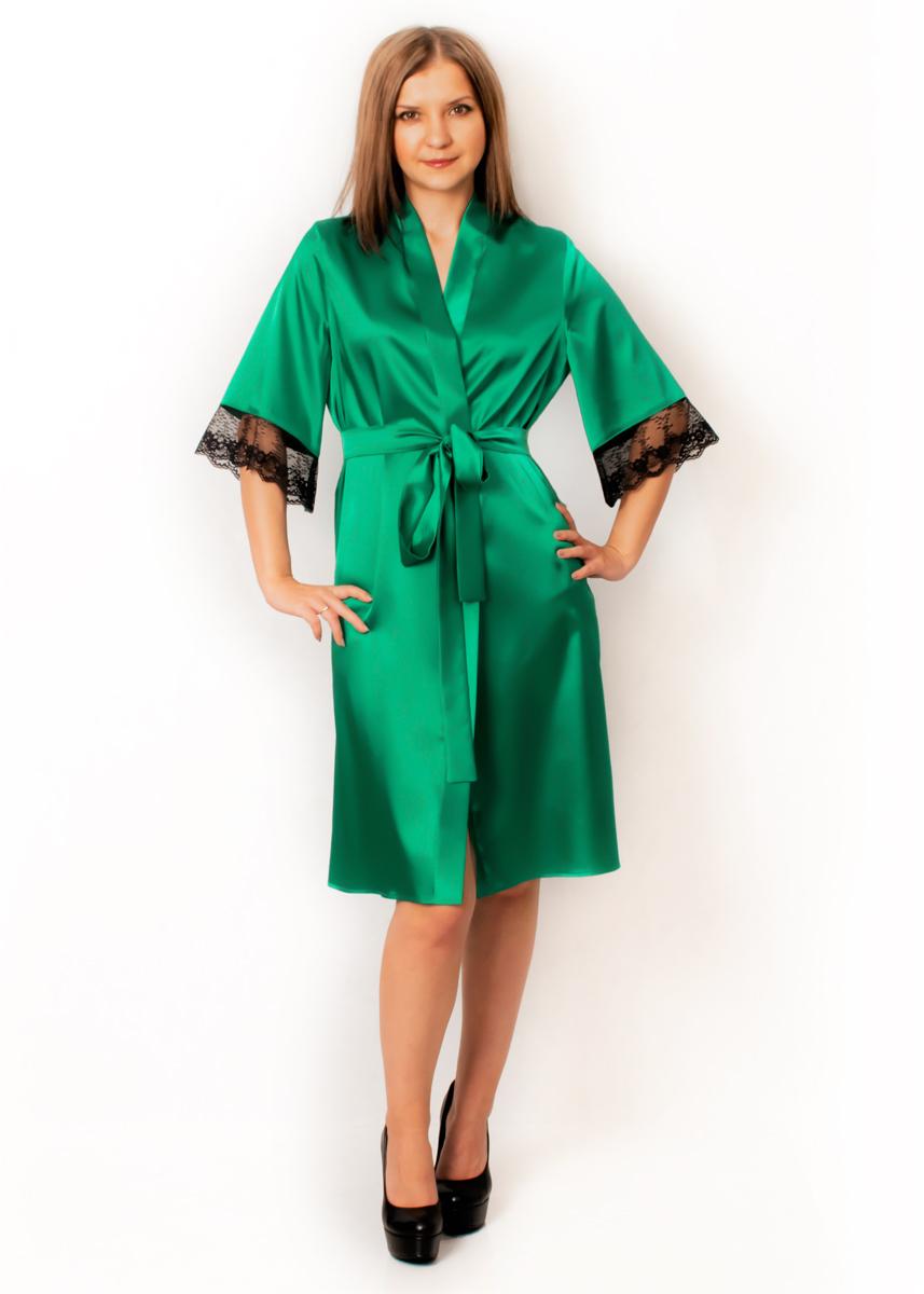 Атласный халат - Мэрри (бриллиантовый зеленый)