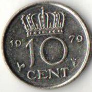 10 центов. 1979 год. Нидерланды.