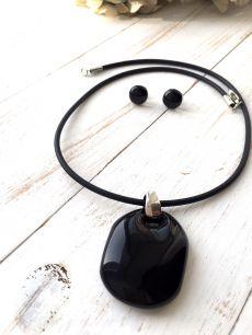 Подвеска Матовый шик черная муранское стекло