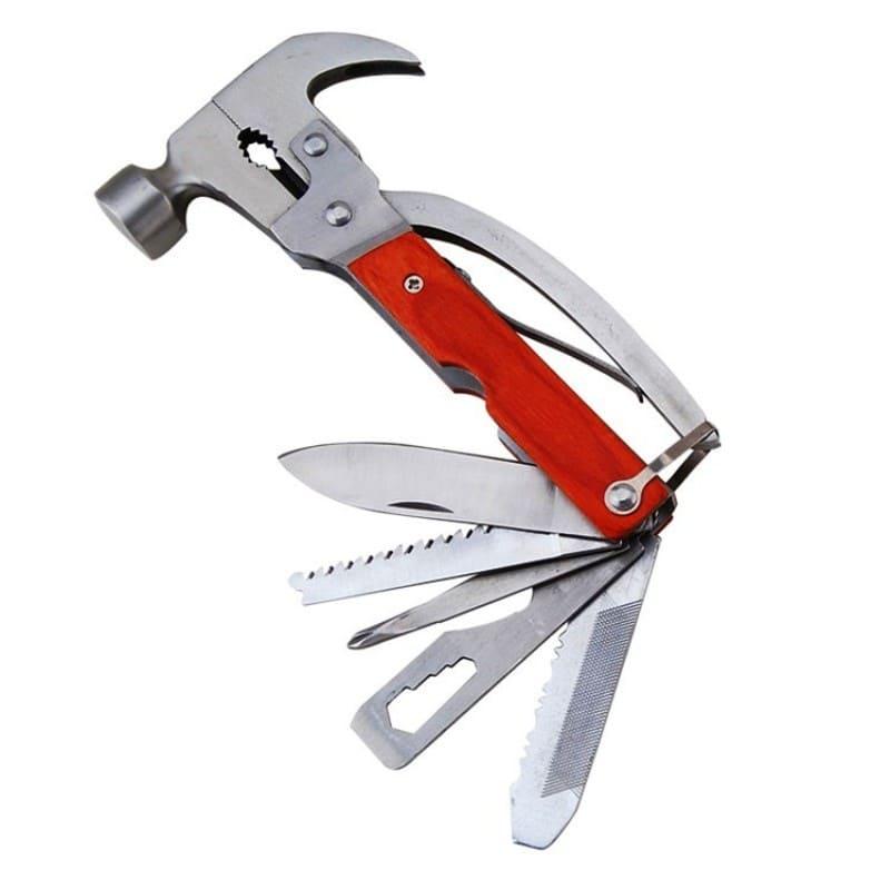 Многофункциональный инструмент для кемпинга – молоток-гвоздодер 9 в 1 (чехол в подарок)